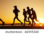 group of young people runs at... | Shutterstock . vector #66545260