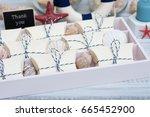 nautical style wedding favors | Shutterstock . vector #665452900