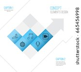 music icons set. collection of... | Shutterstock .eps vector #665456998