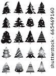 set of christmas trees pattern  ... | Shutterstock .eps vector #665469160