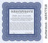 blue sample certificate or... | Shutterstock .eps vector #665477518