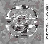 follow your dreams on grey camo ... | Shutterstock .eps vector #665479000