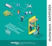 global logistics network flat... | Shutterstock .eps vector #665491834