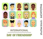 a lot of friends of different... | Shutterstock .eps vector #665493946