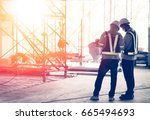 silhouette engineer in safety... | Shutterstock . vector #665494693
