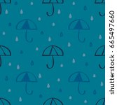 raindrop with blue umbrella... | Shutterstock .eps vector #665497660