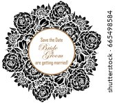 romantic invitation. wedding ... | Shutterstock .eps vector #665498584