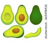 ripe avocado isolated on white... | Shutterstock .eps vector #665498926