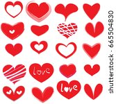 vector hearts set | Shutterstock .eps vector #665504830