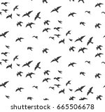 seagulls silhouettes seamless... | Shutterstock .eps vector #665506678