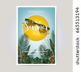 summer party invitation card... | Shutterstock .eps vector #665513194