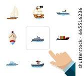 flat icon vessel set of yacht ...