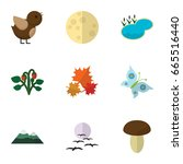 flat icon ecology set of gull ... | Shutterstock .eps vector #665516440