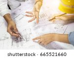 side view of architect drawing... | Shutterstock . vector #665521660