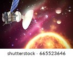 low angle view of 3d solar...   Shutterstock . vector #665523646