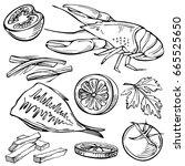 sketch snack for beer. hand...   Shutterstock .eps vector #665525650