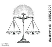 law symbol hand drawing vintage ... | Shutterstock .eps vector #665528704