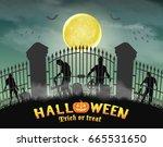 zombie group behind graveyard... | Shutterstock .eps vector #665531650