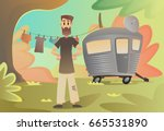 poor man at home on wheels.... | Shutterstock .eps vector #665531890