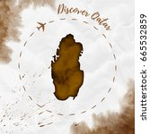 qatar watercolor map in sepia... | Shutterstock .eps vector #665532859
