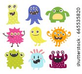 funny cartoon monster cute... | Shutterstock .eps vector #665535820