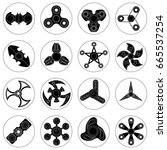 set of 16 spinners of different ... | Shutterstock .eps vector #665537254