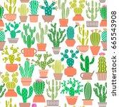 vector cactus plant seamless...   Shutterstock .eps vector #665543908