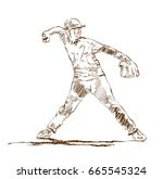 sketch of baseball player in... | Shutterstock .eps vector #665545324