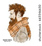 indie fashion men. hipster hair ... | Shutterstock .eps vector #665546650