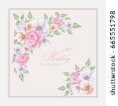 greeting card with bouquet...   Shutterstock .eps vector #665551798