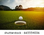 selective focus. white golf... | Shutterstock . vector #665554036