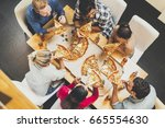 group of young people eating... | Shutterstock . vector #665554630