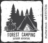 forest camping extreme... | Shutterstock . vector #665557036