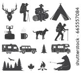 set of camping icons isolated... | Shutterstock . vector #665557084
