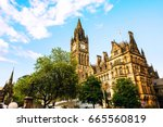 manchester  uk. town hall of... | Shutterstock . vector #665560819
