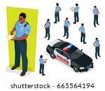isometric police officer in... | Shutterstock .eps vector #665564194