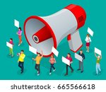 protest isometric people with... | Shutterstock .eps vector #665566618