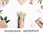 female hands with a manicure... | Shutterstock . vector #665569429