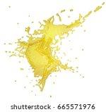 a splash of yellow juice. 3d... | Shutterstock . vector #665571976