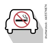 no smoking sign in the car.... | Shutterstock .eps vector #665574874