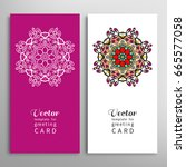 cards or invitations set with... | Shutterstock .eps vector #665577058