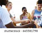 closeup of diverse friends... | Shutterstock . vector #665581798