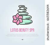 spa stones with flower for logo ... | Shutterstock .eps vector #665582644