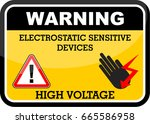 warning  high voltage | Shutterstock .eps vector #665586958