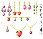 traditional golden jewellery...   Shutterstock .eps vector #665594533