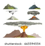 volcano magma nature blowing up ... | Shutterstock .eps vector #665594554