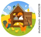 hen coop with cute chicken ... | Shutterstock .eps vector #665603158