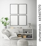 mock up poster frame in hipster ... | Shutterstock . vector #665607070
