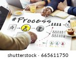 process network workflow... | Shutterstock . vector #665611750