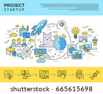 digital vector yellow and blue... | Shutterstock .eps vector #665615698